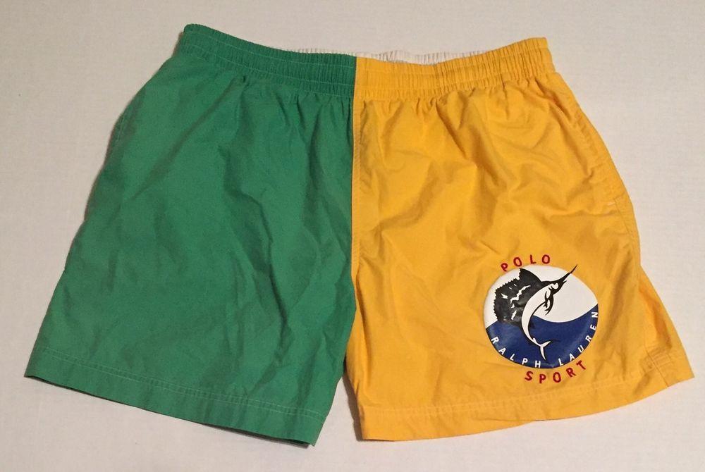 2dd175487 Vtg Ralph Lauren Polo Sport Swim Trunks Large Color Block 90s Sailfish  Lined  PoloSportRalphLauren  Trunks