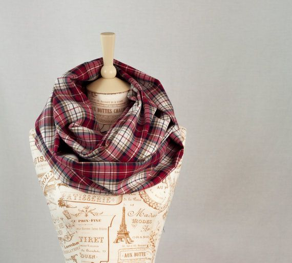 1d50b50412263 Handmade Hand Sewn Jersey Tartan Plaid Red Navy Blue Infinity Loop Circle  Scarves Eternity Scarf by ForgottenCotton Red and White Plaid Infinity