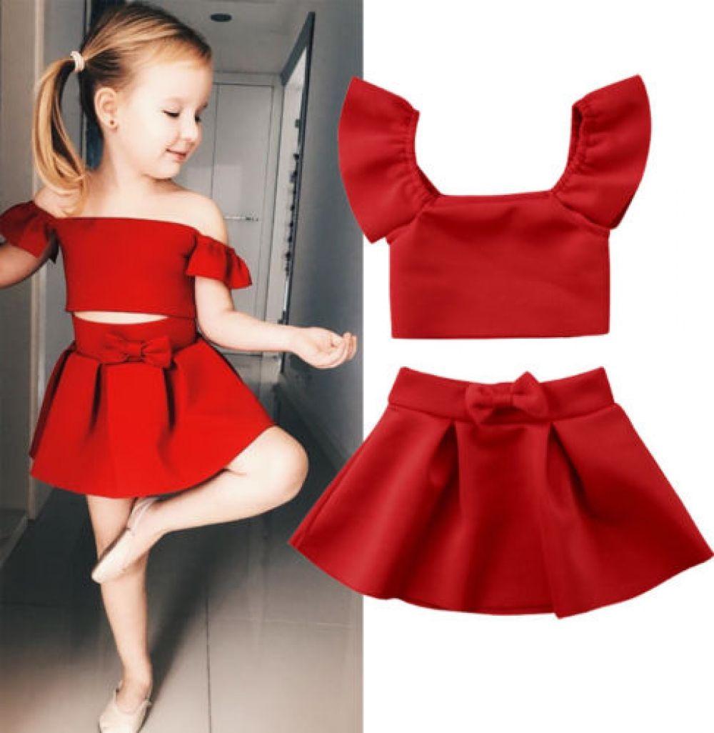 stylish Kids Baby Girl Clothes Set Solid Color Off Shoulder Tank