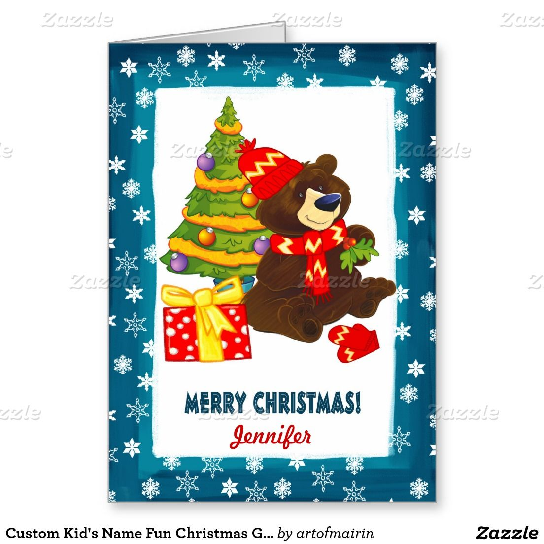 Merry Christmas Fun Teddy Bear And Christmas Tree Design Christmas