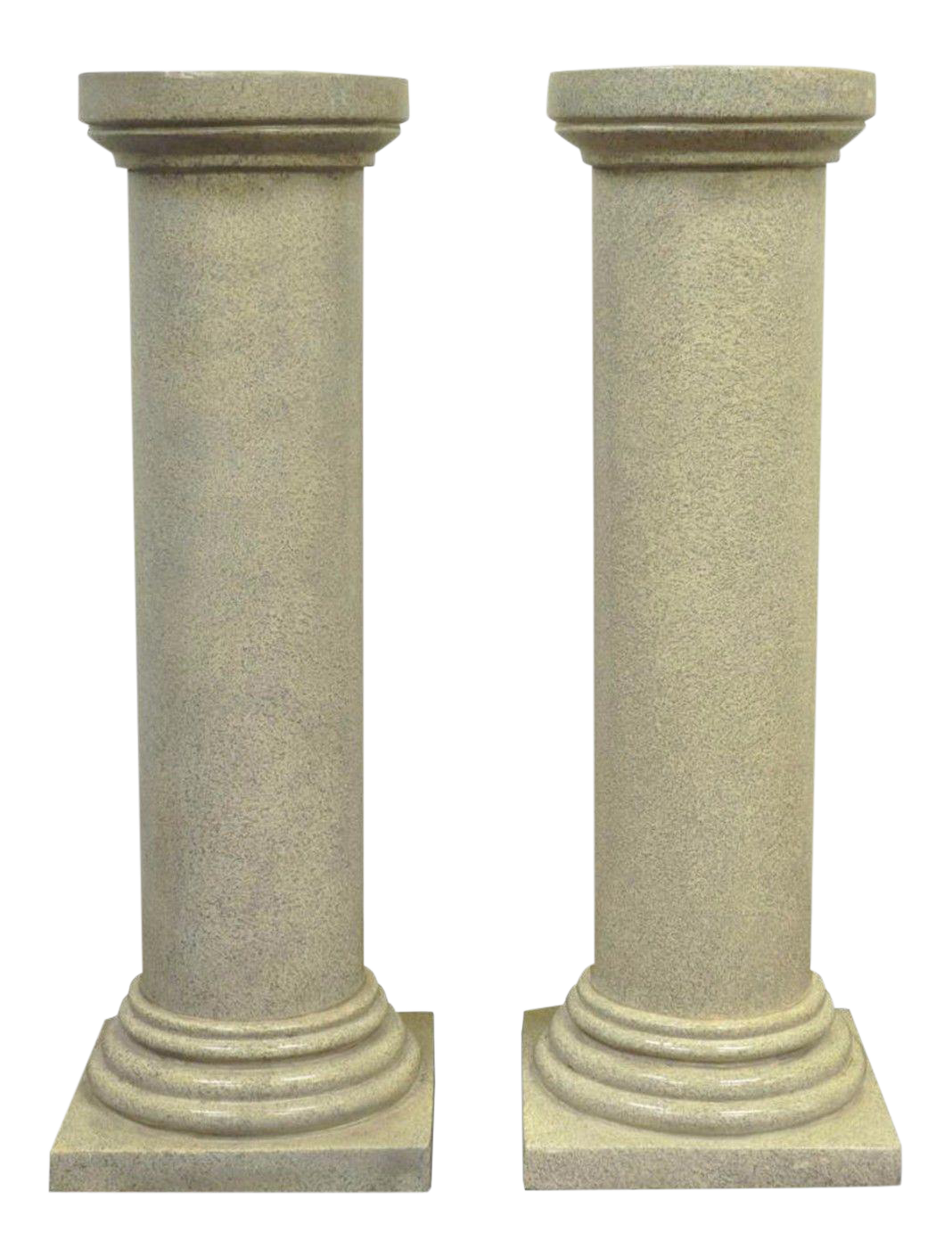 Pair Of 40 Faux Concrete Fiberglass Column Pedestals
