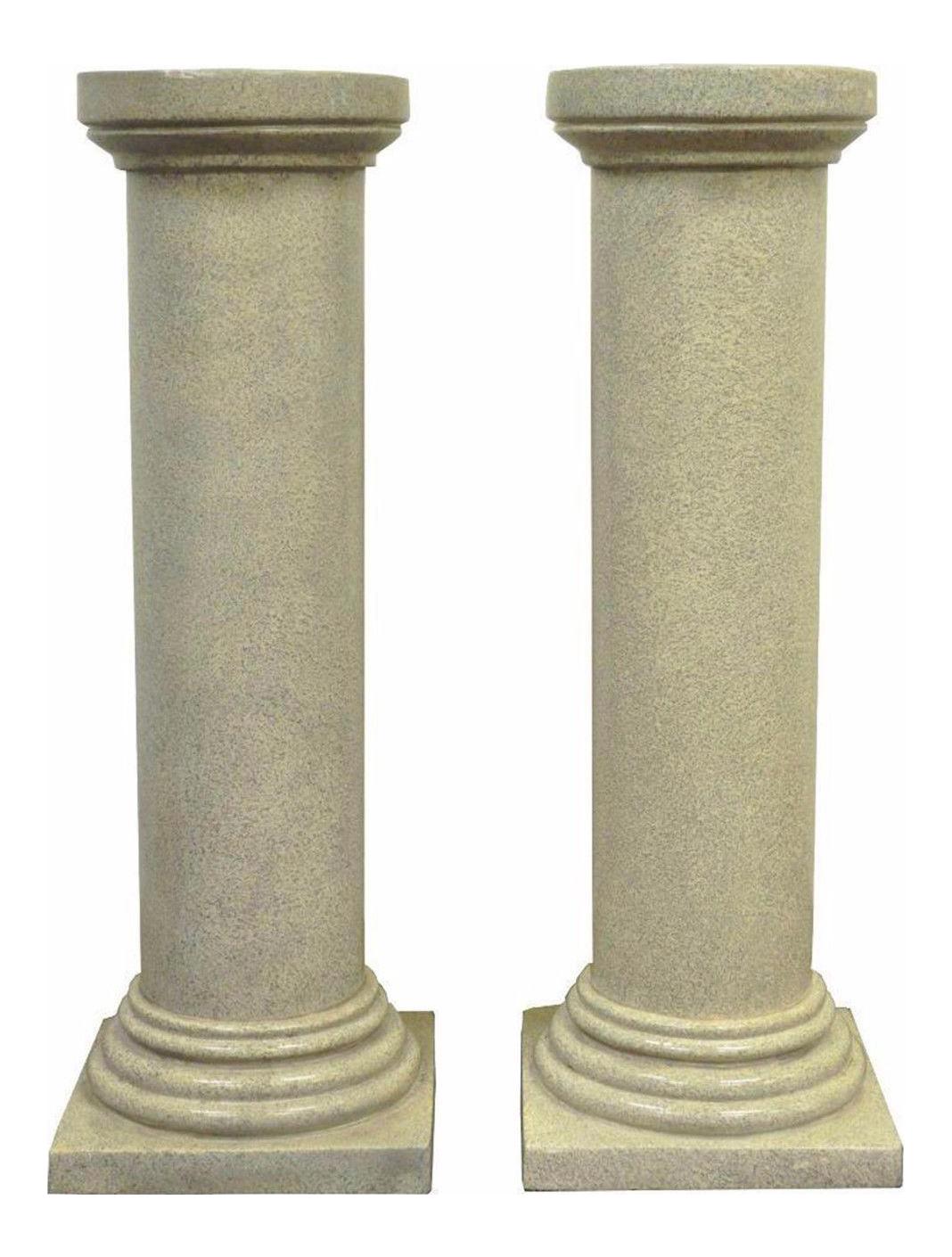 """Pair Of 40"""" Faux Concrete Fiberglass Column Pedestals"""