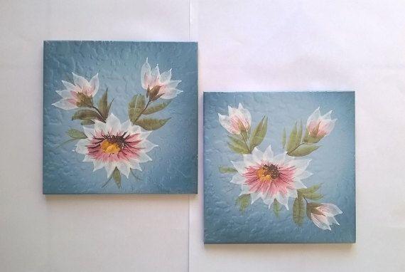Vintage blue tiles with flowers antique tiles italian ceramic