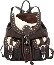 Hand Tooled Western Pony Leather Backpack Old West Sophistication