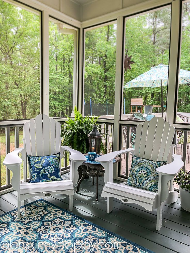 Front Porch Decorating Ideas With The Perfect Adirondack Chairs Our House Now A Home: Back Porch Makeover, Screened Porch Decorating