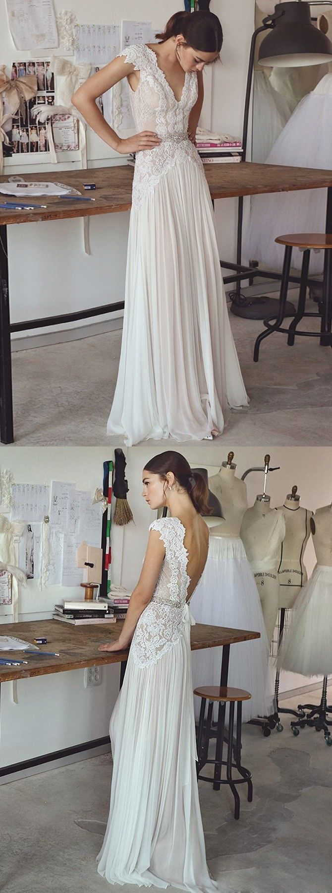 Long sleeve chiffon wedding dress  ALine VNeck Cap Sleeves Chiffon Wedding Dress with Lace Beading