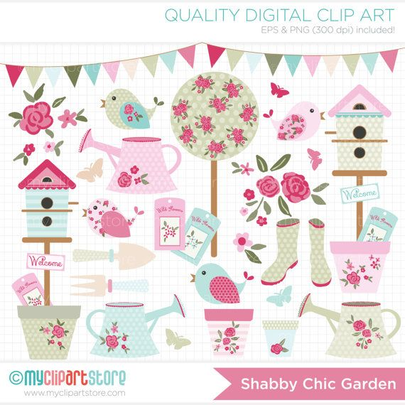clipart shabby chic garden gardening clipart bunting clipart rh pinterest com shabby chic christmas clip art shabby chic clipart