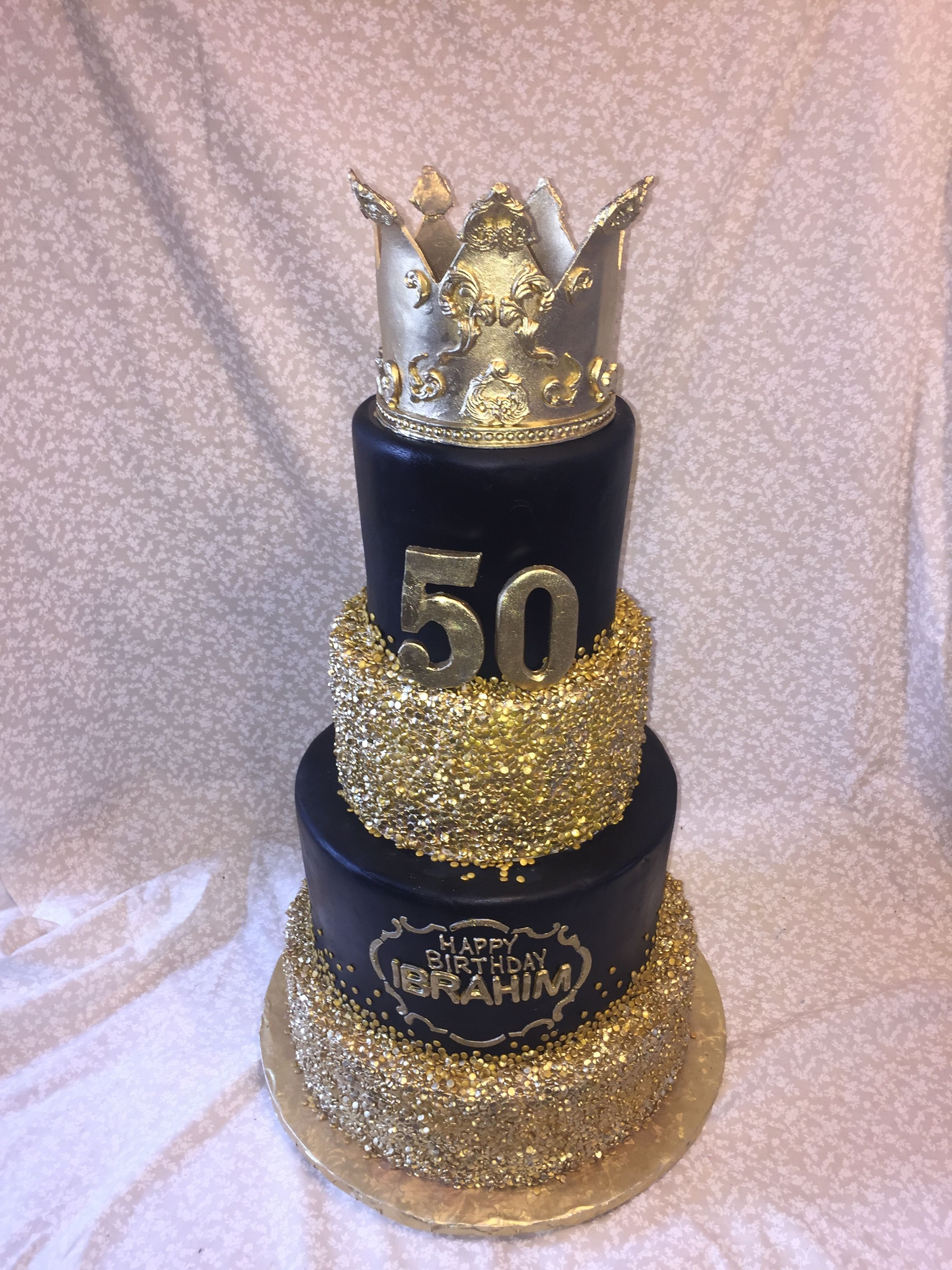 Pleasant Black Gold 50Th Birthday Cake With Images Black And Gold Personalised Birthday Cards Veneteletsinfo