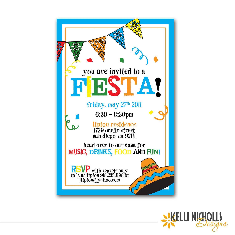 Fiesta Party Invitation by KelliNichollsDesigns on Etsy | Seidons ...