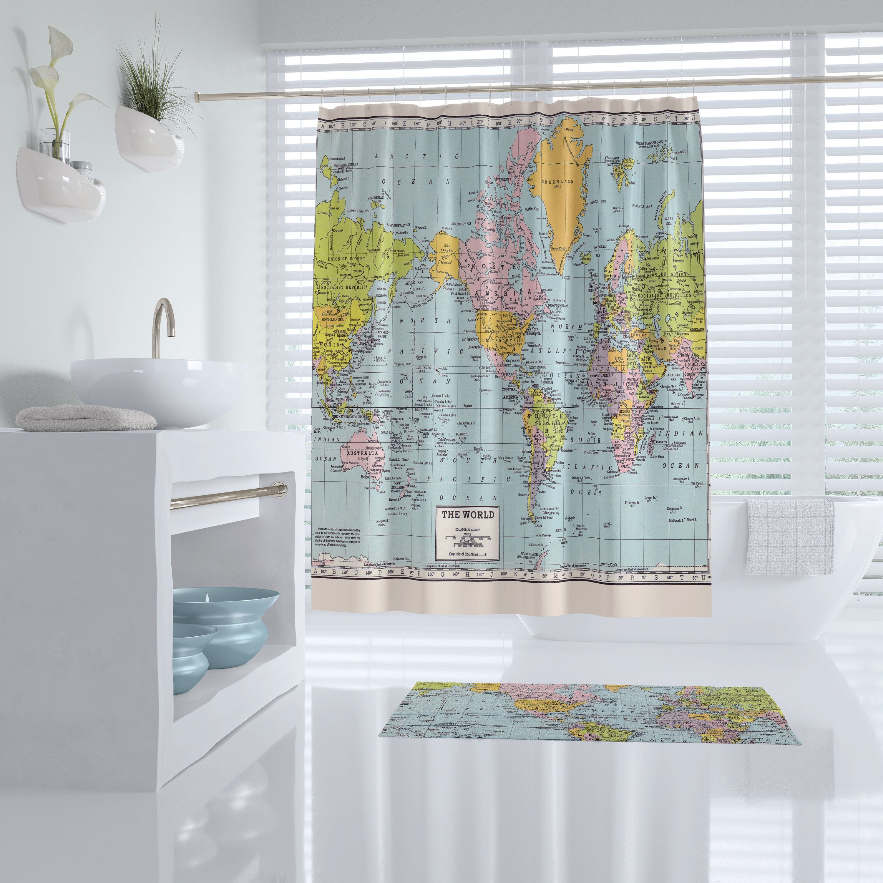 World Map Shower Curtain Historical Colorful Vintage Map Etsy Bathroom Decor Kid Bathroom Decor Fabric Shower Curtains