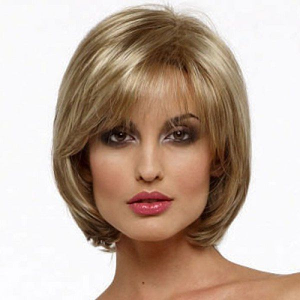 Ladylike Short Capless Stunning Shaggy Flax Mixed Blonde Straight