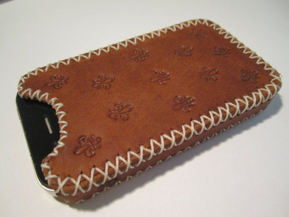 Handmade Leather iPhone 4 4s Case With Stamped by JigsawLeather, $35.00