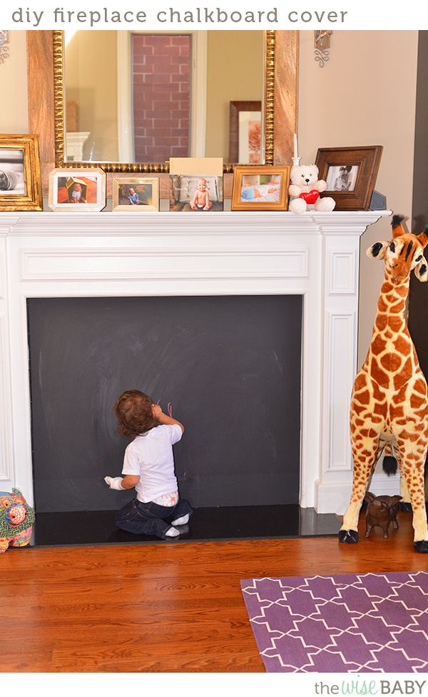 Diy fireplace chalkboard cover diy projects diy - Ideas to cover fireplace opening ...