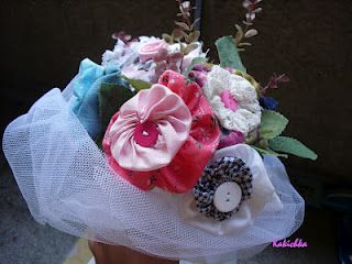 wedding bucket  - fabric flowers