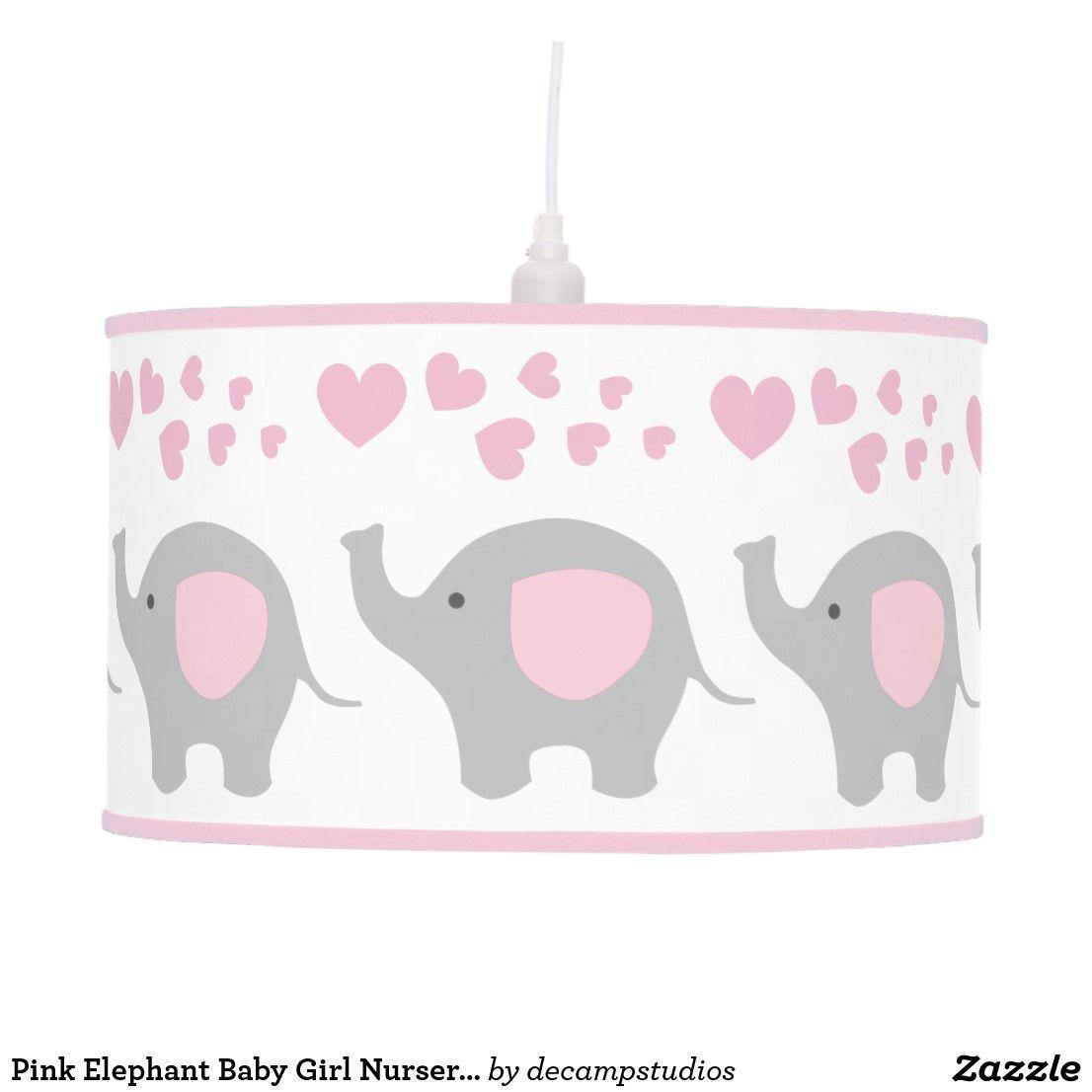 Pink Elephant Baby Girl Nursery Safari Animals Ceiling