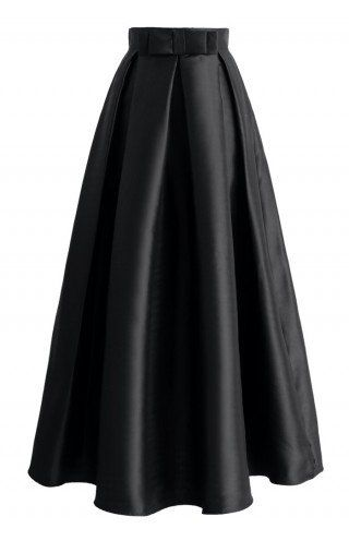 Bowknot Pleated Full Maxi Skirt in Black black XS