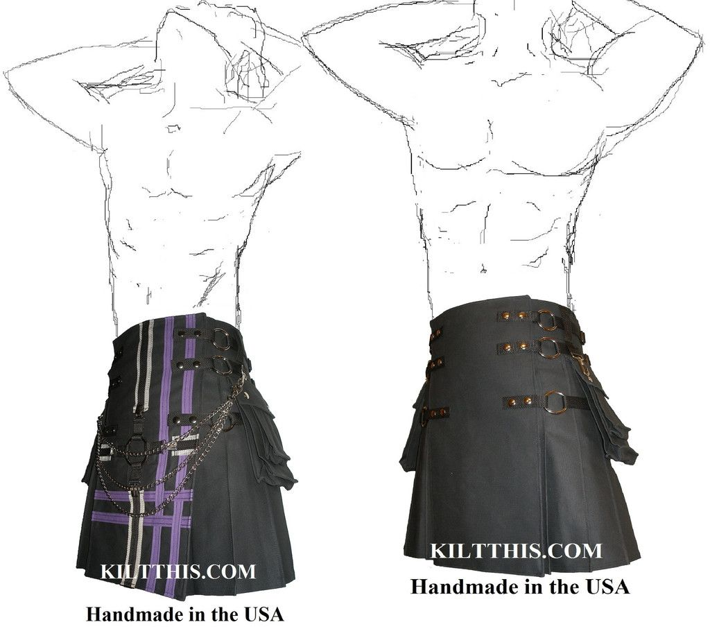 Black Canvas Snap Utility Kilt with Black and Purple Gear Apron Set