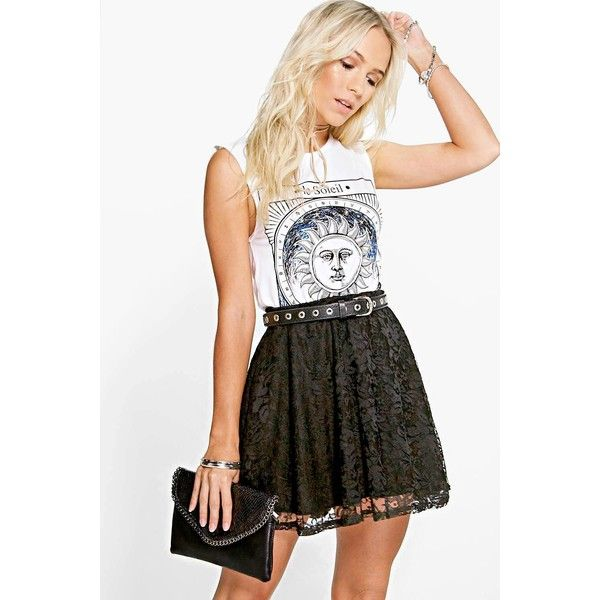 Boohoo Petite Petite Hayley Lace Skater Skirt ($20) ❤ liked on Polyvore featuring skirts, black, party skirts, calf length skirts, flared mini skirt, lace skater skirt and mini skirt