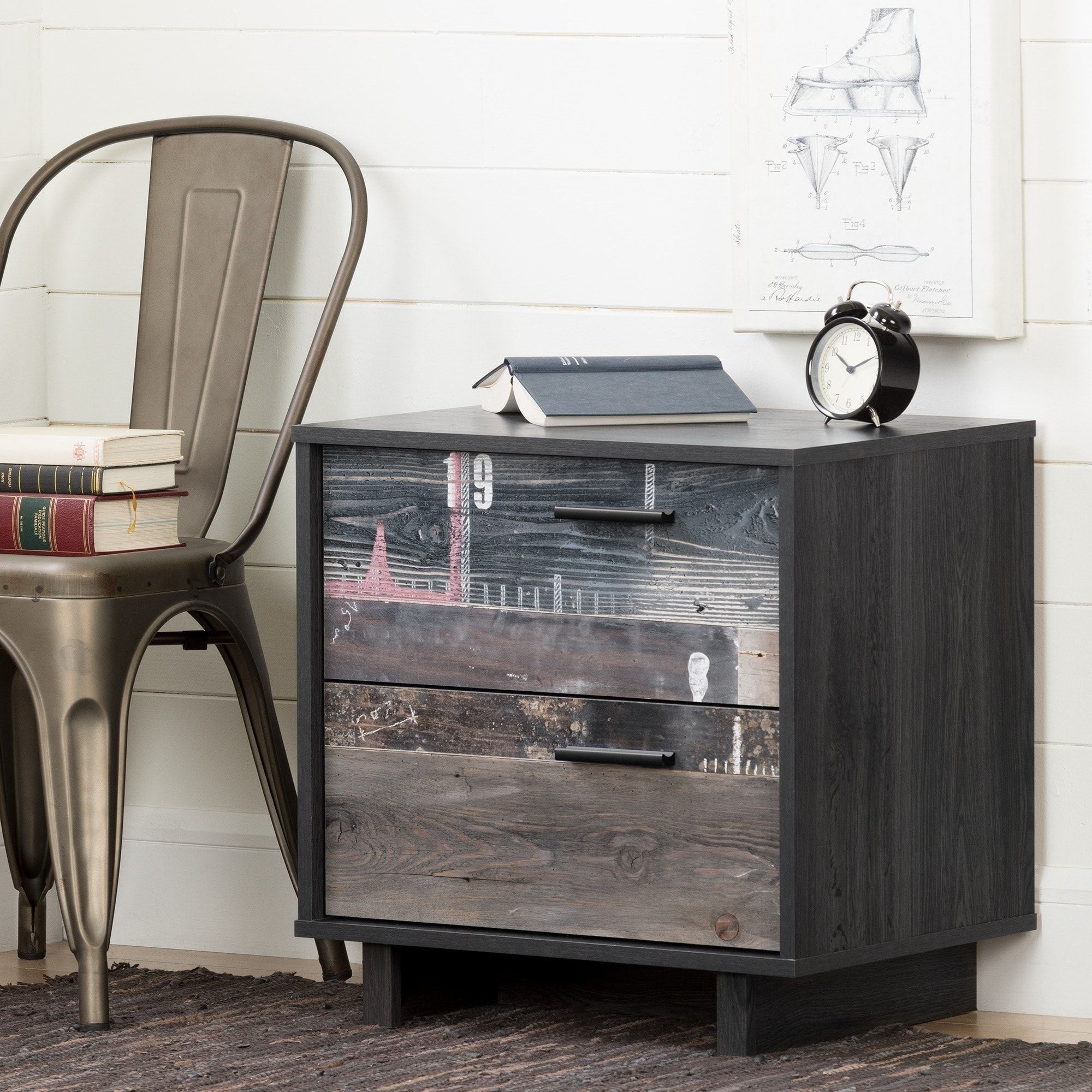 South Shore Fynn 2 Drawer Nightstand Gray Oak And Factory