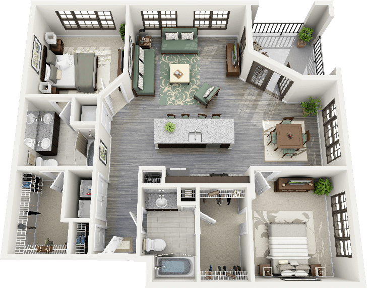 50 plans 3d d 39 appartement avec 2 chambres design for Design layout 2 bedroom flat