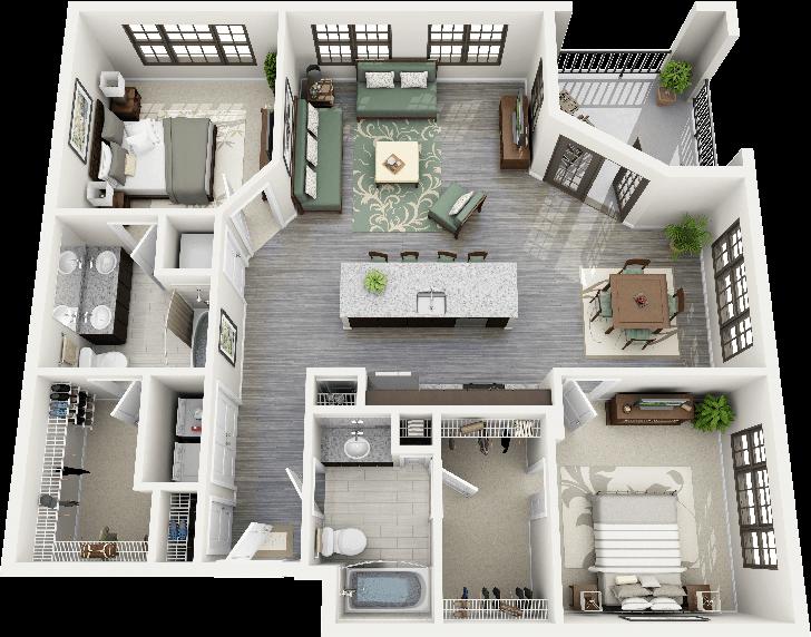 "50 Two ""2"" Bedroom Apartment/House Plans   floorplans ..."