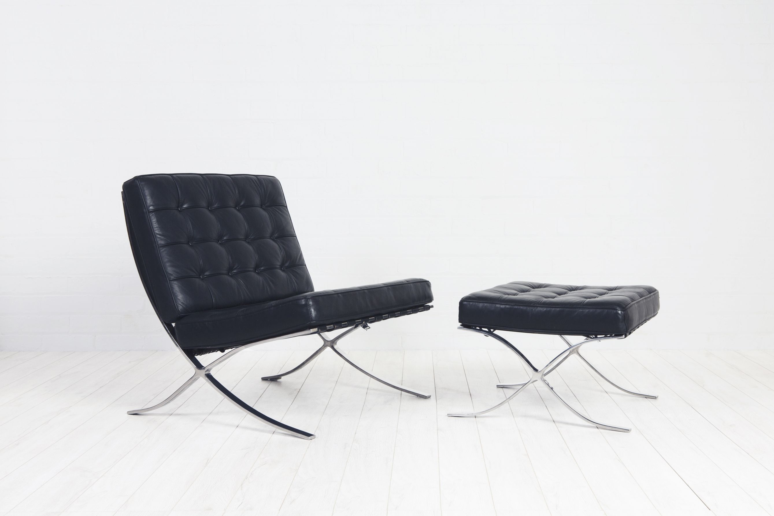 Barcelona Style Chair And Footstool After Mies Van Der Rohe. Grab Them Now  At Www