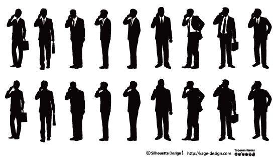 携帯電話をかけるビジネスマン サラリーマン イラスト ビジネス