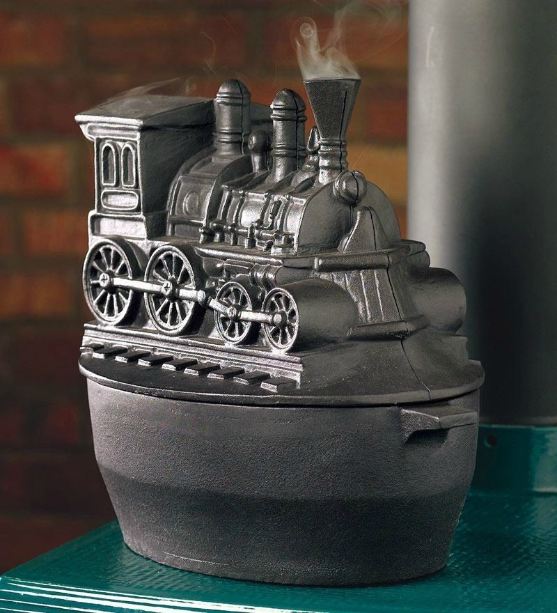 Train Locomotive Wood Stove Steamer Cast Iron Kettle ...