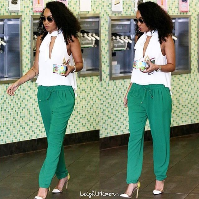 Green Day Top and Bottoms- Zara Shoes- @gianvitorossiofficial Sunglasses- Dior #LeighLoves