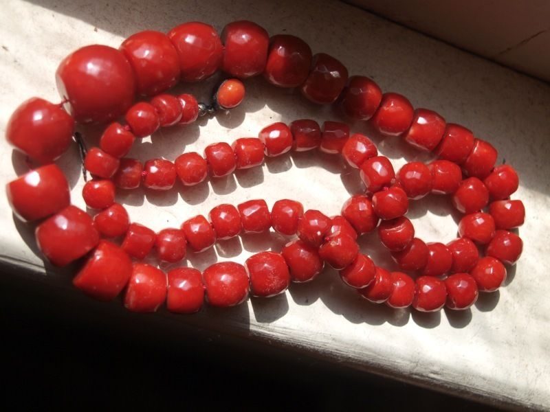 Victorian Faceted Ox Blood Red Coral Necklace