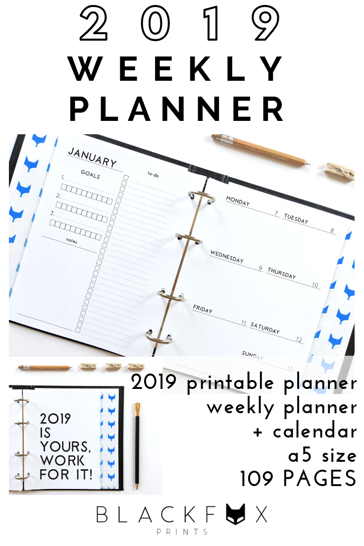 Weekly Planner Printable a5 Planner Inserts, 2019 Planner