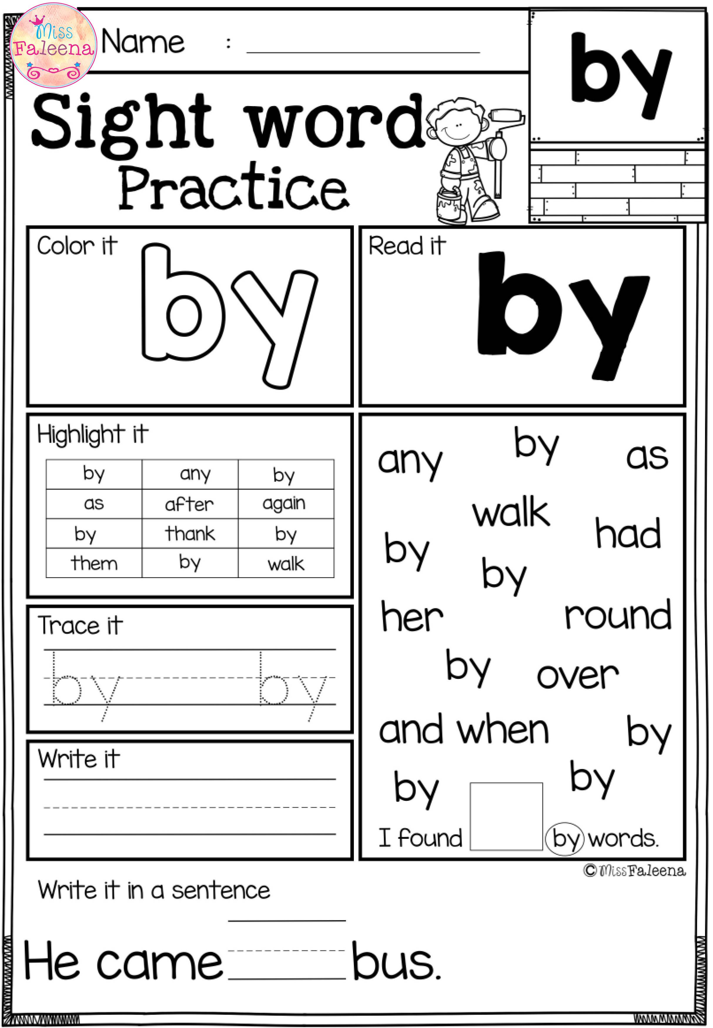 Free Sight Word Practice These Are Free Samples From My Sight Word Practice Bund Sight Word Worksheets Sight Word Practice Kindergarten Worksheets Sight Words