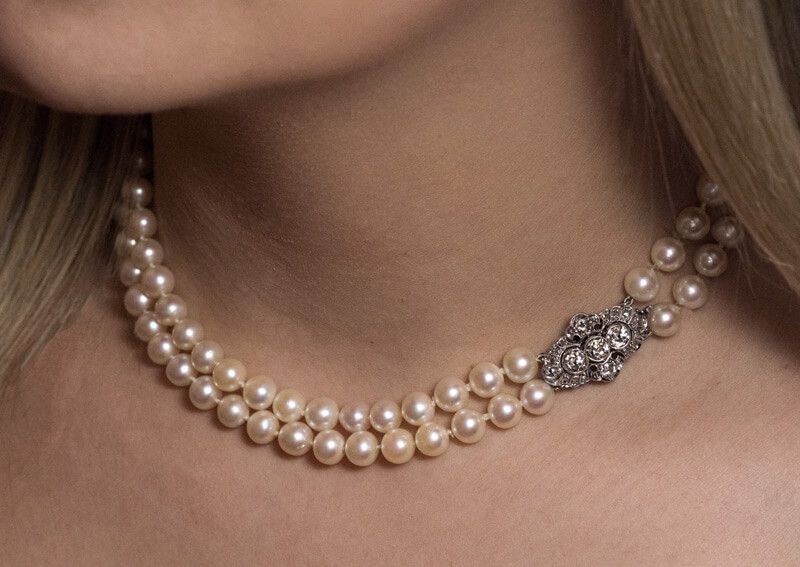 Vintage Pearl Necklace Double Strand Adjustable Length