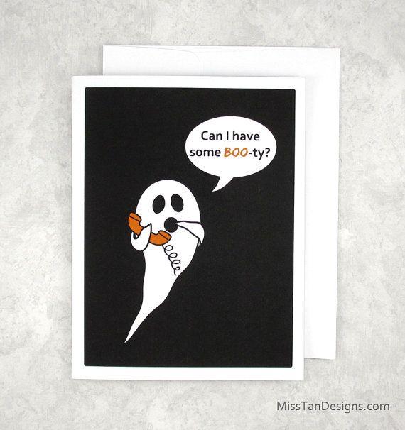 Halloween Card Anniversary Card Funny Gift Booty by MissTanDesigns #spookybasketideasforboyfriend