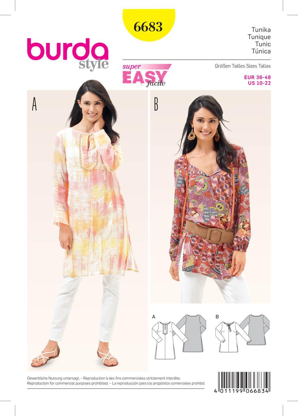 Burda 6683 Women\'s Tunic | Pinterest | Sew pattern, Patterns and ...