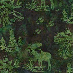 Hoffman Fabrics Earth Green Bull Moose Bali Batik Fabric N2911-58-Earth