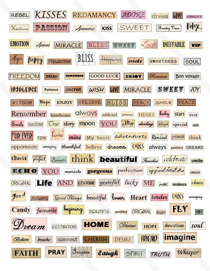 Digital collage sheet Words sentences Phrase quotes inspirational motivation Instant Download, Words collage sheet, motivation Words