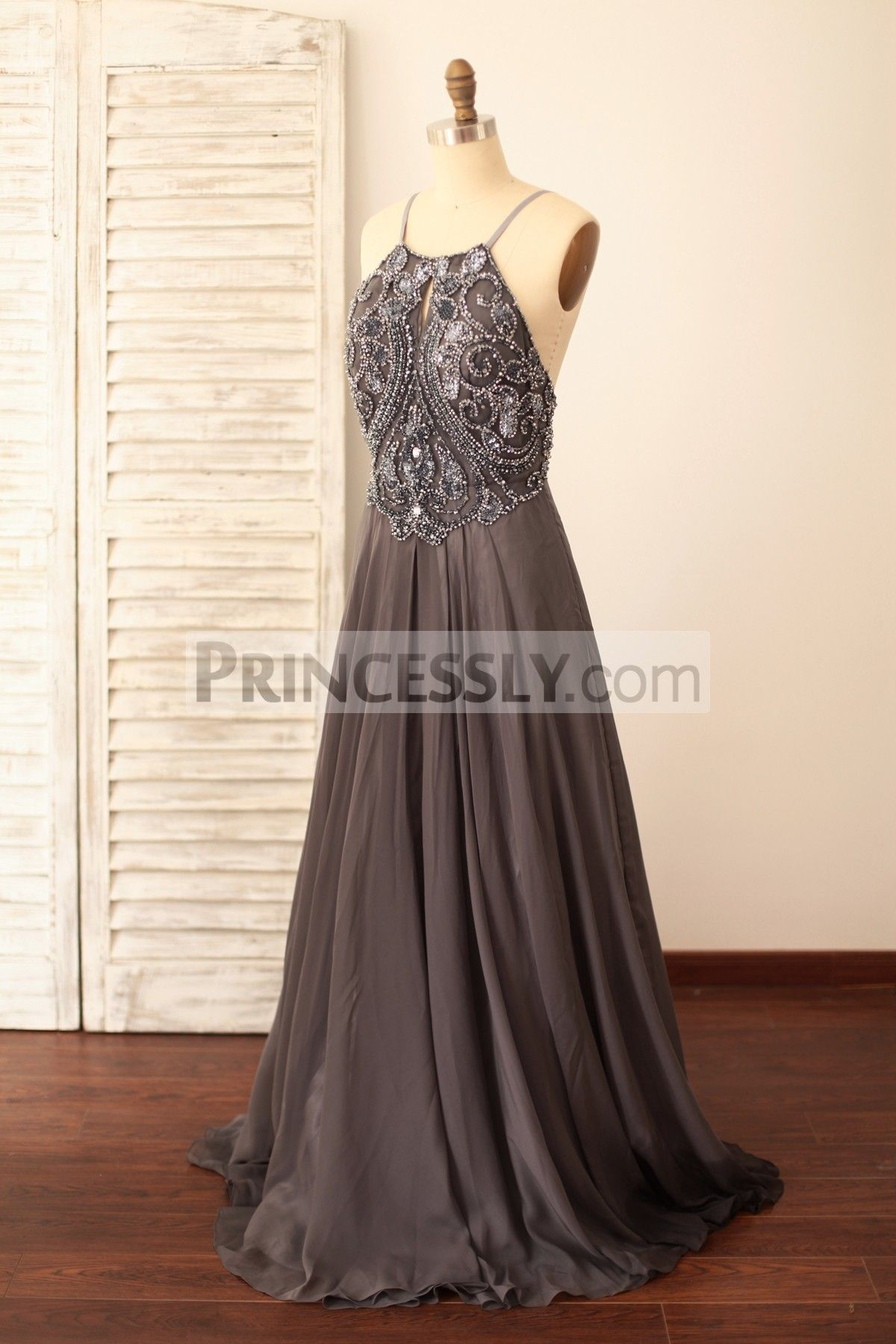 Spaghetti Straps Gray Chiffon Backless Beaded Prom Dress in