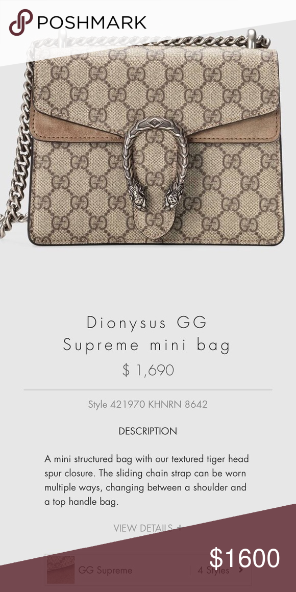 000e7aba6 NWT Gucci Dionysus GG Supreme Shoulder Mini bag Brand new in the box. ...