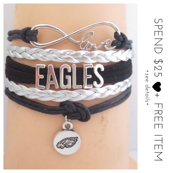 • Philadelphia Eagles Football Team Bracelet • A great gift for yourself or loved ones! Slip this beautiful handcrafted bracelet onto your wrist! Add a wonderful complement to your personal style. Measures approx 7 inches with 2 inches extender, lobster clasp closure, made with alloy. Color may be slightly different from the actual item due to the lighting. Bundle and save! :)  + gives discount for bundles | + ships the next day | + feel free to make an offer | Jewelry Bracelets
