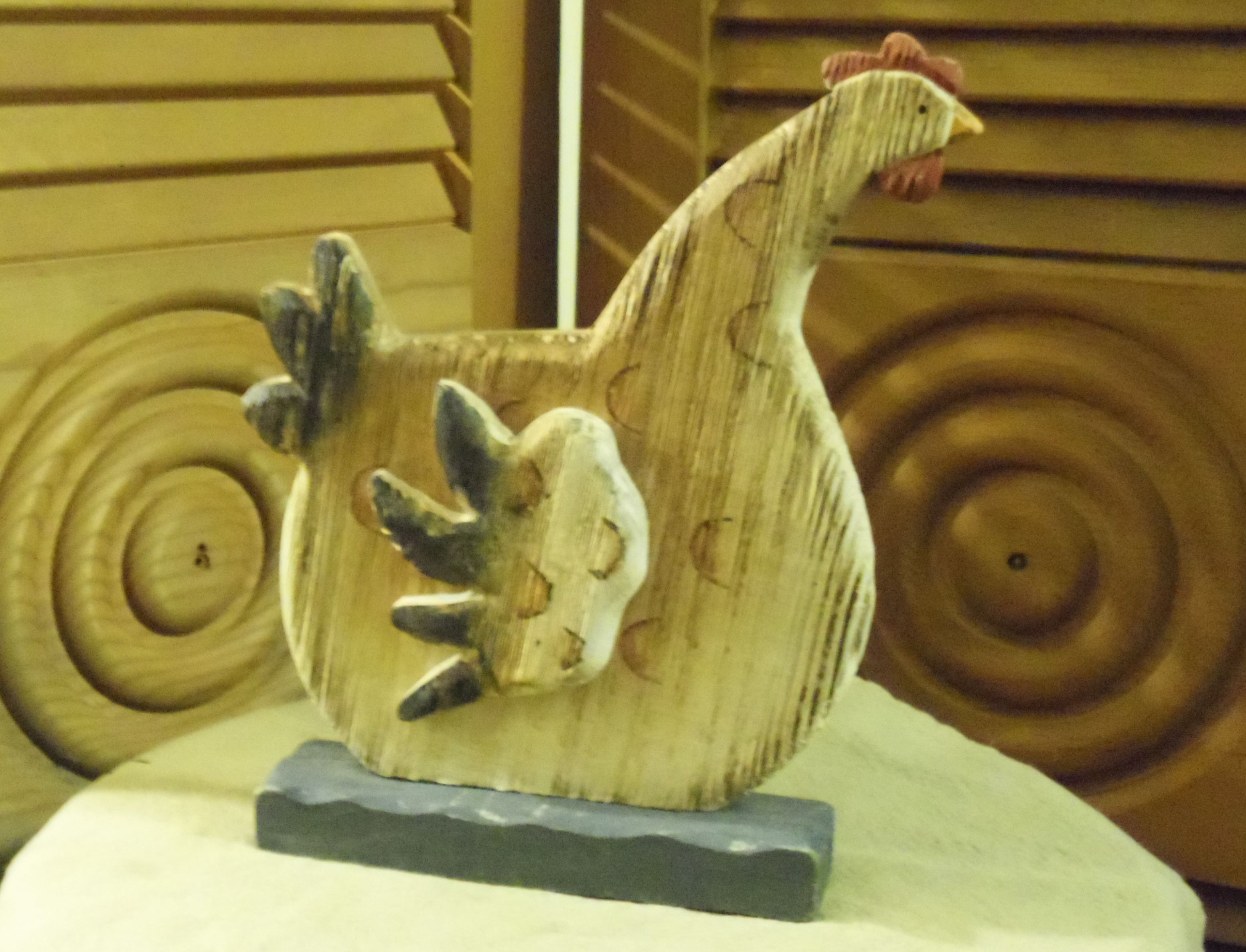 primitive wooden rooster free standing figurine base is 6 1 4 by