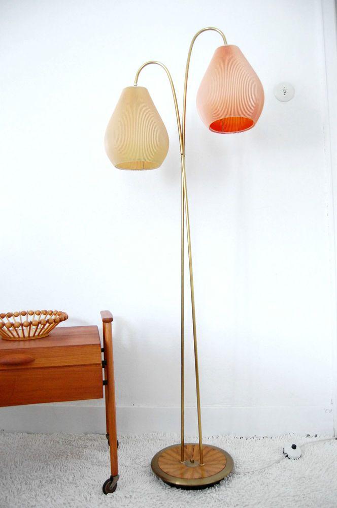 Stehlampe Vintage Mid Century Brass Plissee 50er 60er Orange Floor Lamp Stilnovo In Antiquitaten Kunst Desi Stehlampe Vintage Stehlampe Stehlampe Wohnzimmer