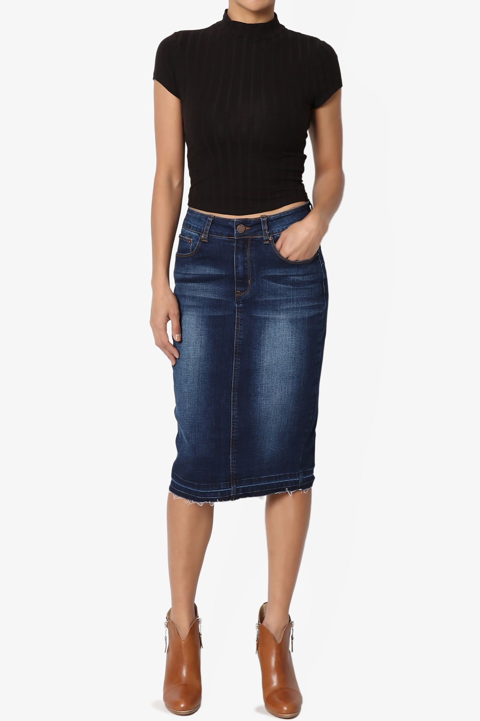 493524a95137 TheMogan Women's Butt Lift Washed Blue Jean Pencil Midi Soft Denim Skirt# Lift, #Washed, #Blue