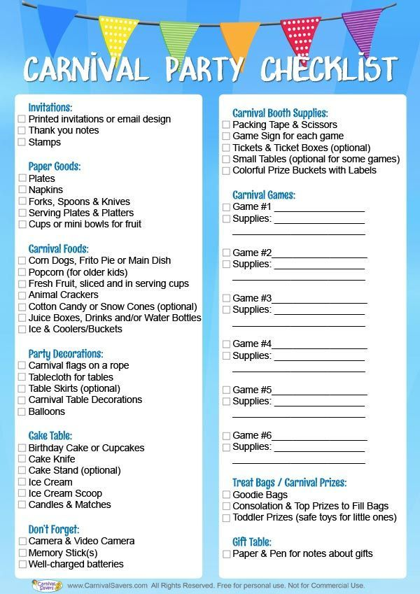 Carnival Birthday Party Checklist - FREE DOWNLOAD! | Carnival ...