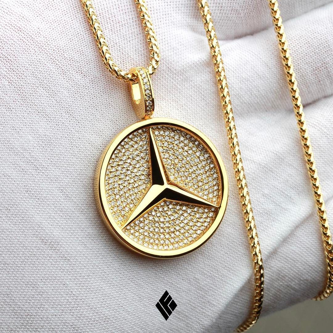 "Custom Jewelry: Solid 14K Yellow Gold ""Mercedes-Benz"" Pendant. Custom Made"