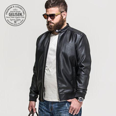 watch d6313 7877e Gelisen marca para hombre Vintage chaqueta de cuero lavado con con más  tamaño béisbol de moda 2015 nuevos hombres de invierno de la motocicleta  Slim Fit Pu