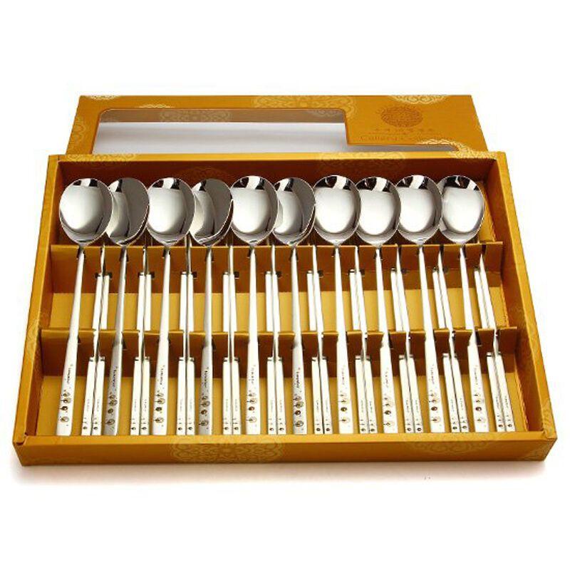 2 SET Korean Spoon Chopsticks Rest Stainless Steel Korean Metal Chop Sticks