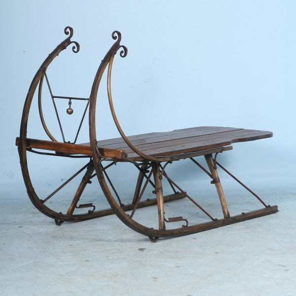 Vintage Sleigh Photos Whimsical Antique Coffee Table C 1900 This