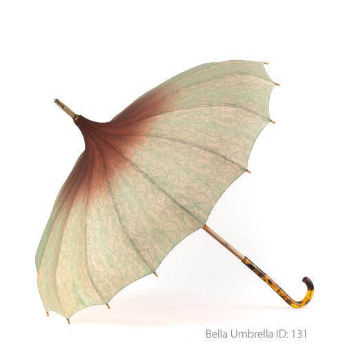 Umbrella ID 131 | Ivory Pagoda With Soft Green Lace Ombre to Antique Rust Red | Tortoise Shell Hook Handle | Bella Umbrella | Vintage Umbrella Rentals