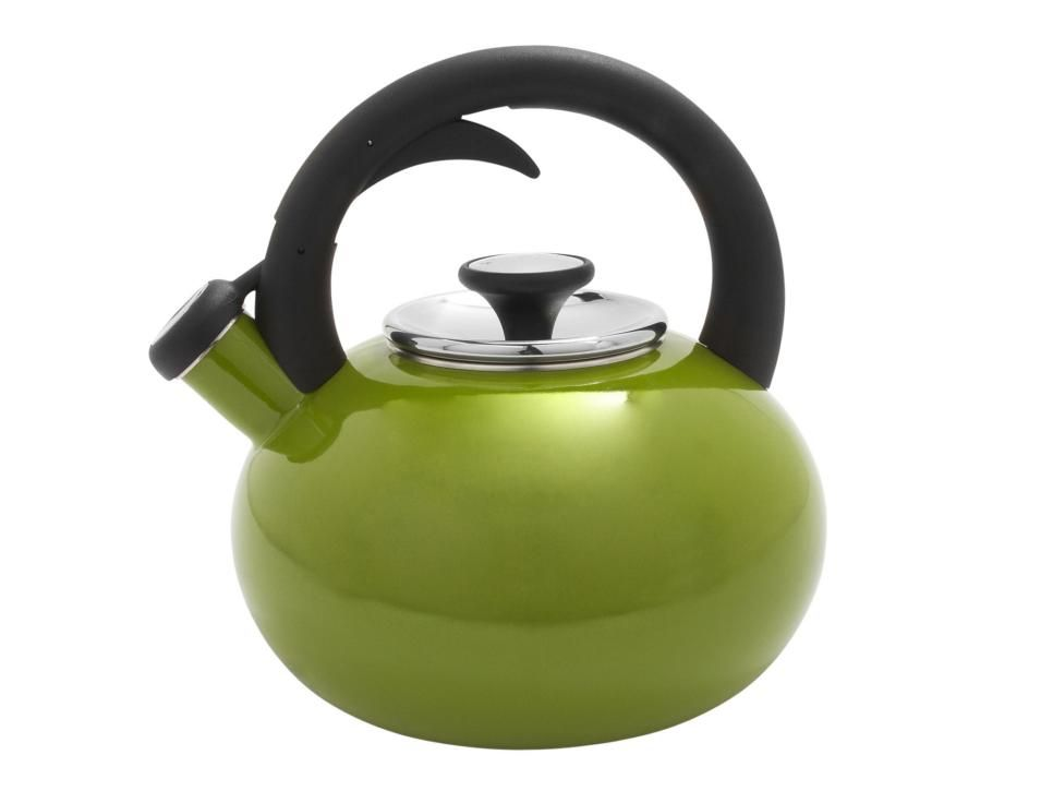 Boil up to eight cups in this porcelain and stainless steel kettle. Tea kettle in green, $40, surlatable.com